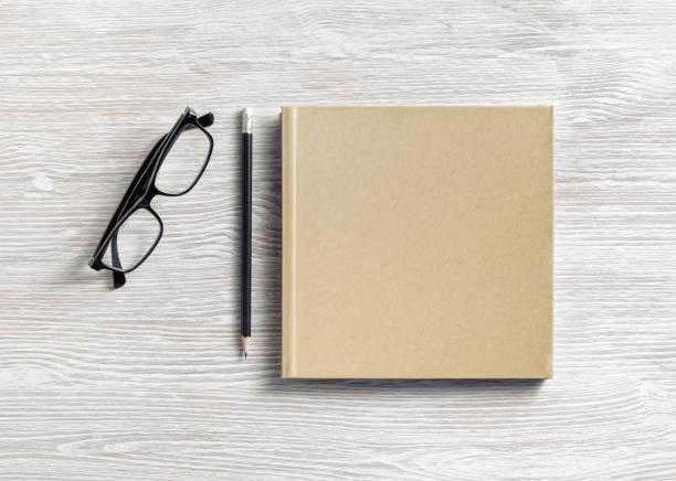Notepad, glasses, pencil stock photo
