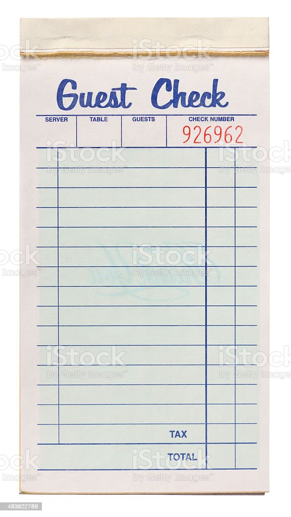 Notepad of Restaurant or Diner Guest Checks. Isolated. Clipping Path. stock photo