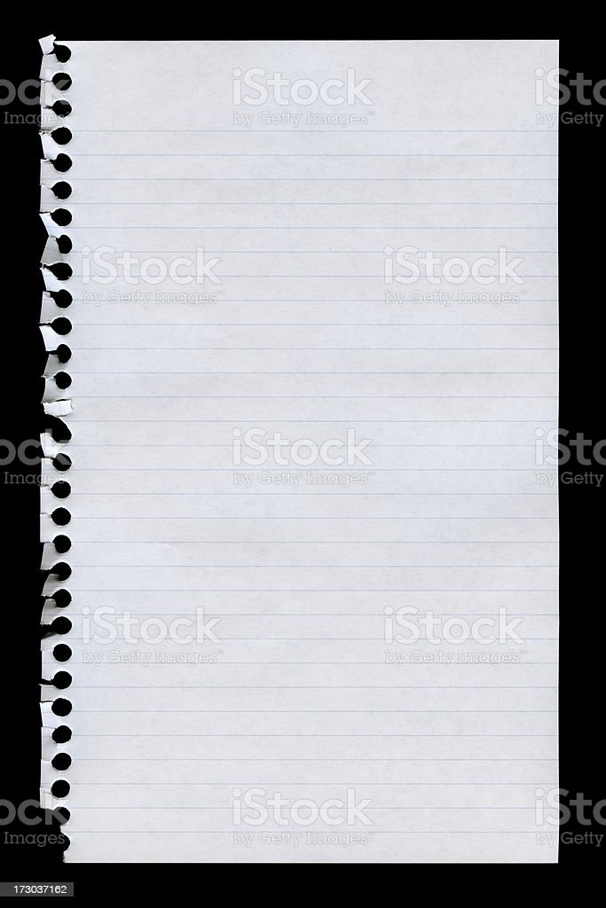notepad page isolated on black royalty-free stock photo