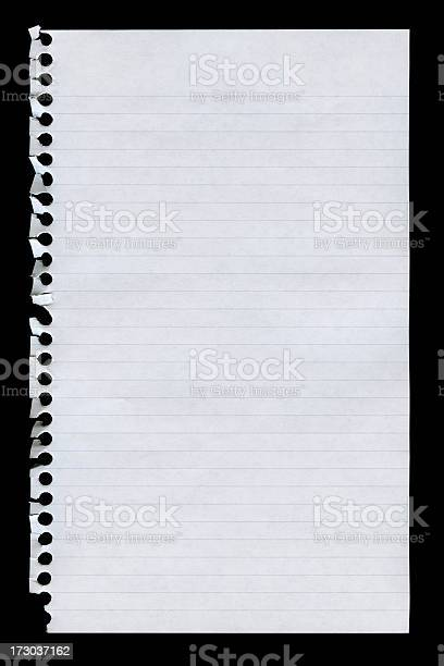 Notepad Page Isolated On Black Stock Photo - Download Image Now