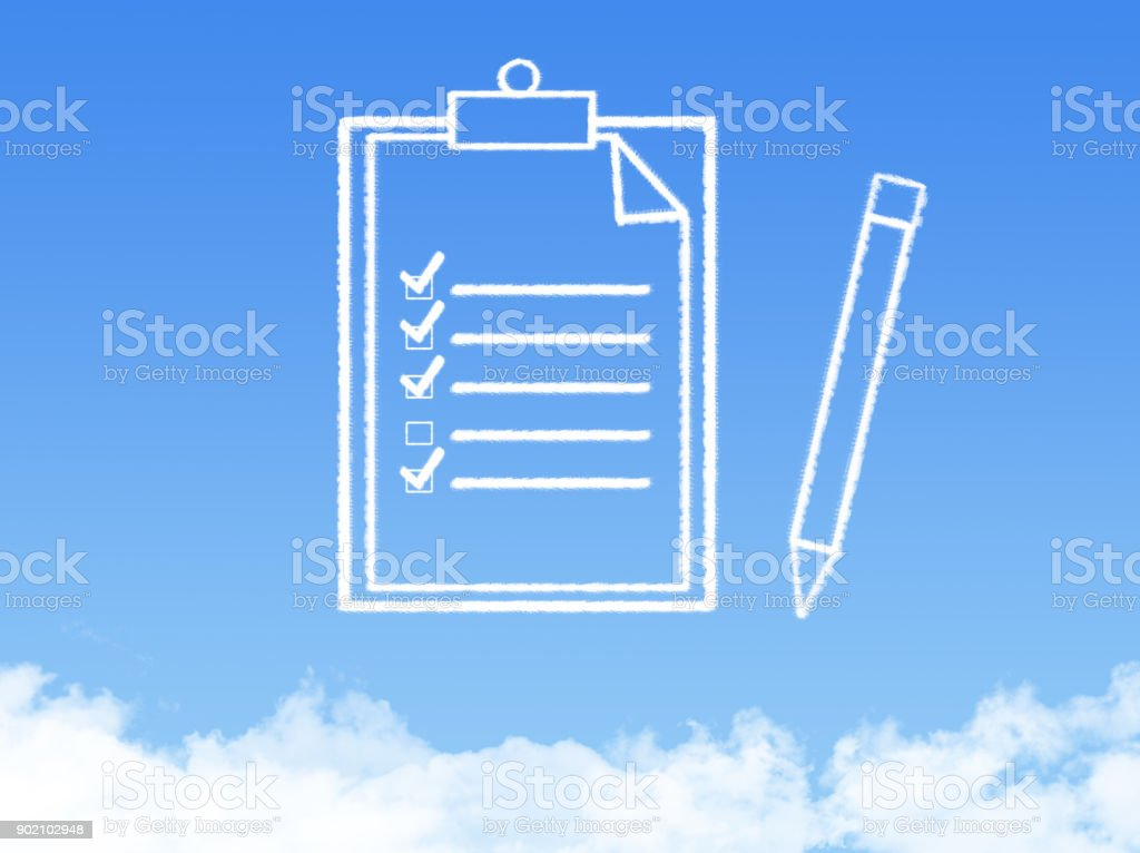 Notepad paper document cloud shape stock photo