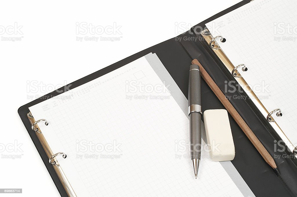 Notepad, pen, pencil and eraser. royalty-free stock photo