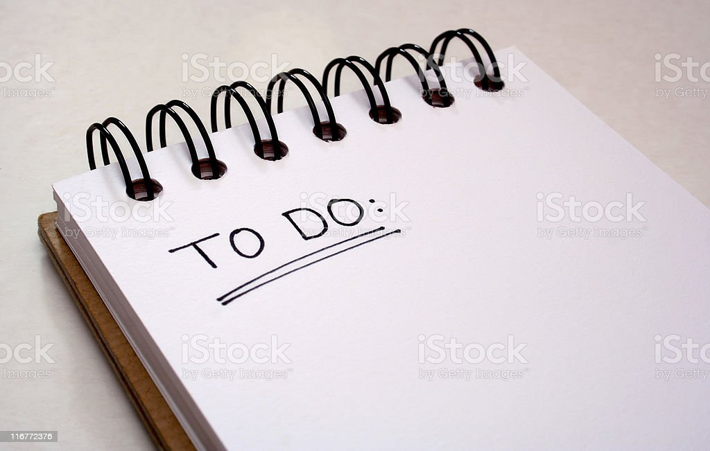 Notepad - to do list - get things done stock photo