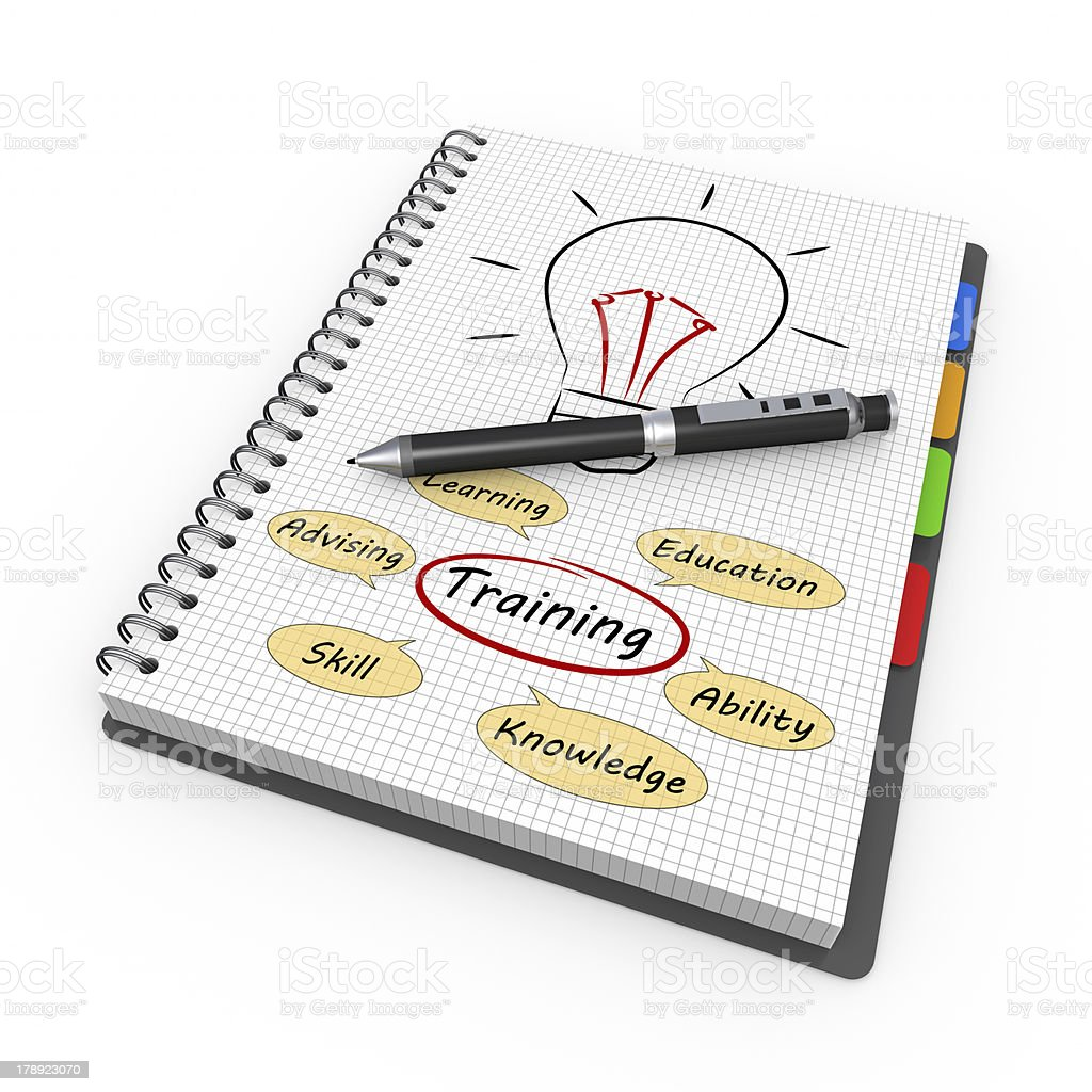 Notepad training concept royalty-free stock photo