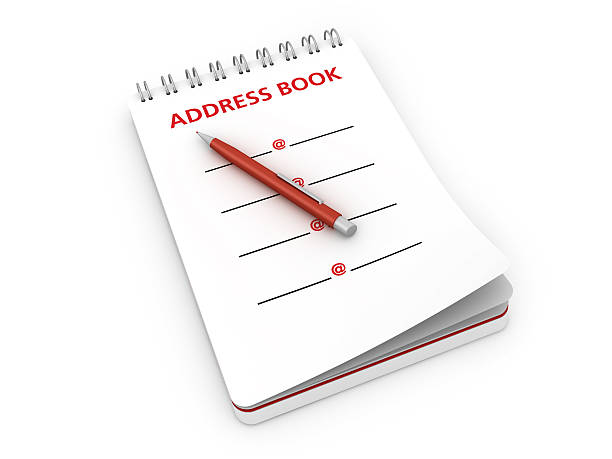 notepad with address book and pen - address book stock photos and pictures