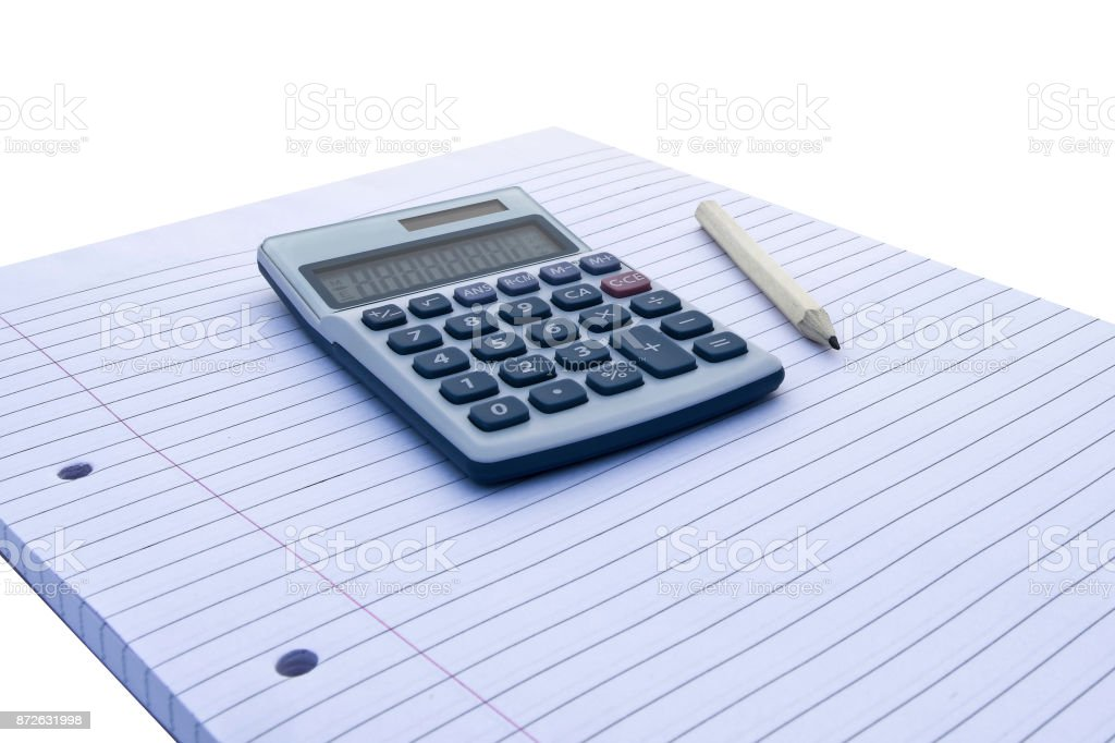 Notepad with blue and white calculator with with solar power and pencil for accounts, business, education etc on white background stock photo