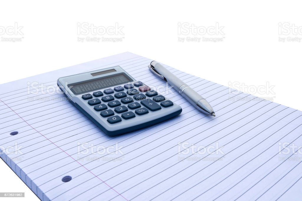 Notepad with blue and white calculator with with solar power and silver pen for accounts, business, education etc on white background stock photo
