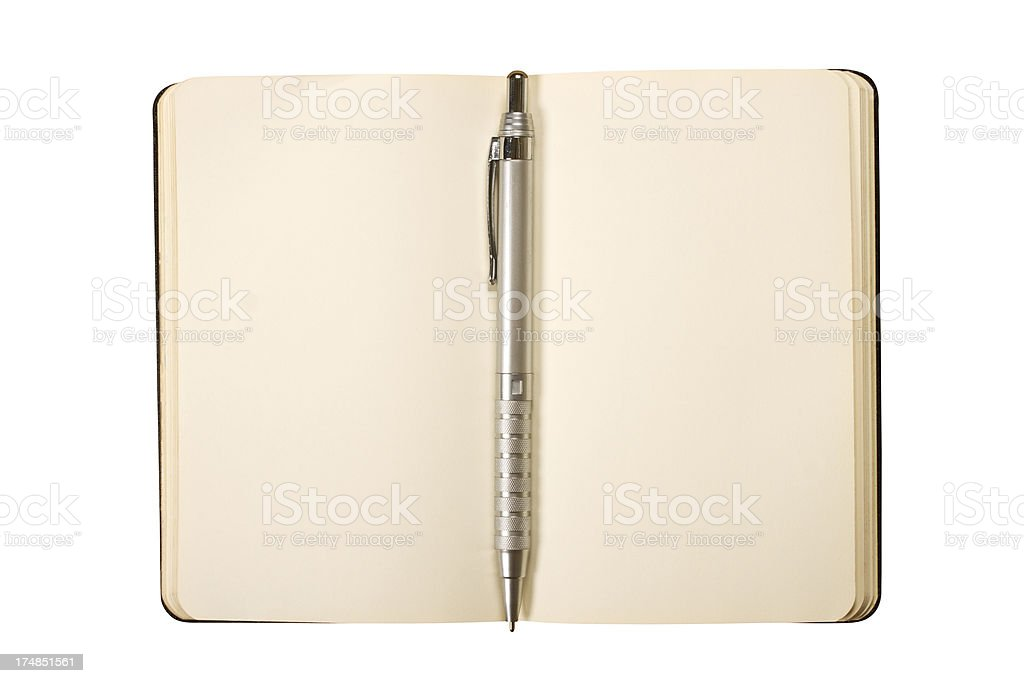 Notepad with clipping path isolated on white royalty-free stock photo