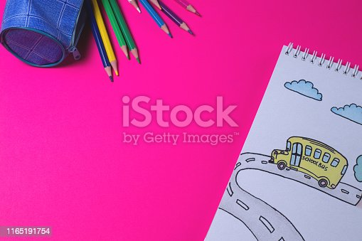 istock Notepad with drawing color pencil 1165191754