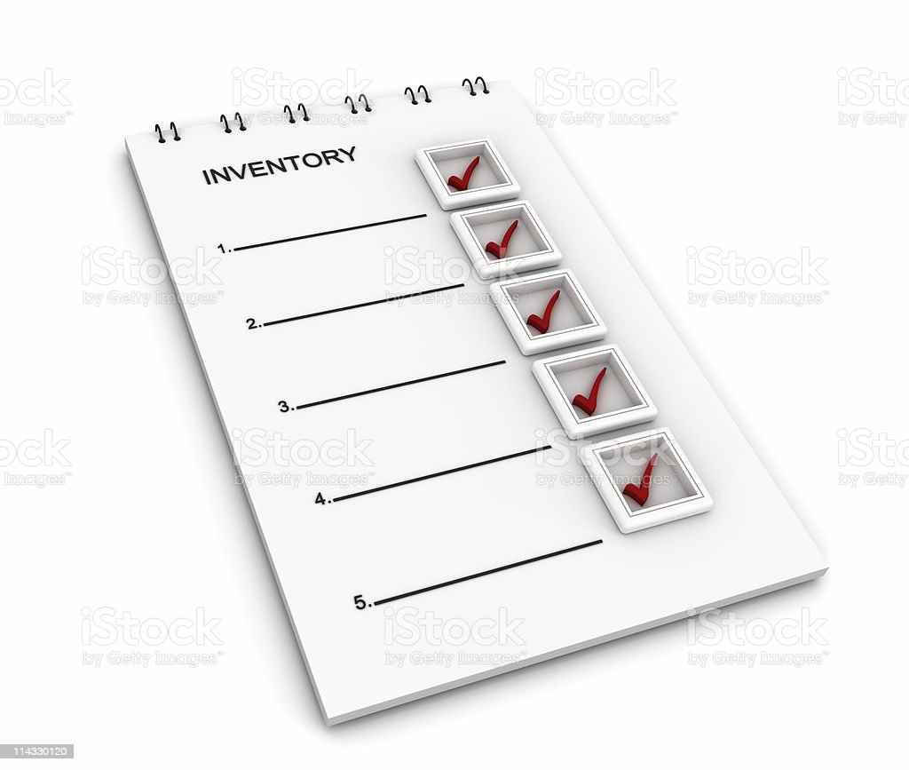 Notepad with Inventory List royalty-free stock photo