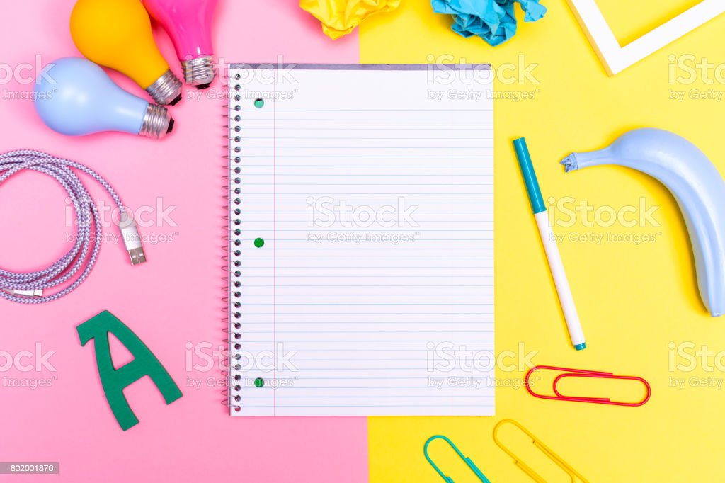 Notepad with objects stock photo