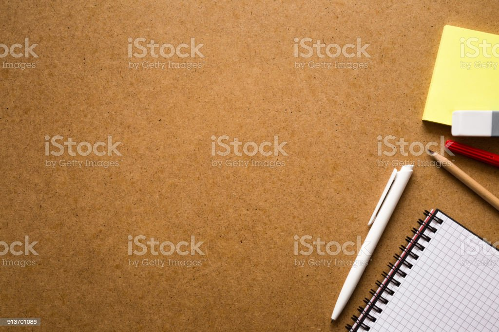 Notepad with pen and sticky notes on the work table. Education or business concept. Empty place for text. stock photo