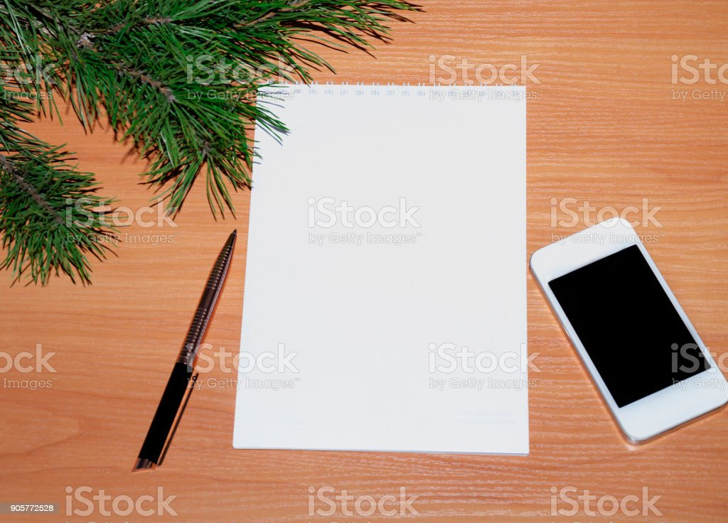 notepad with pen for notes stock photo