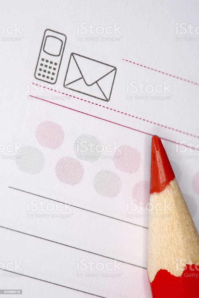 Notepad with red pencil royalty-free stock photo