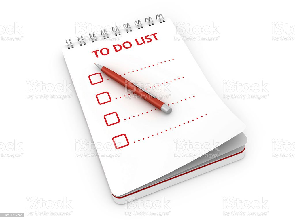 Notepad with To Do List and Pen royalty-free stock photo