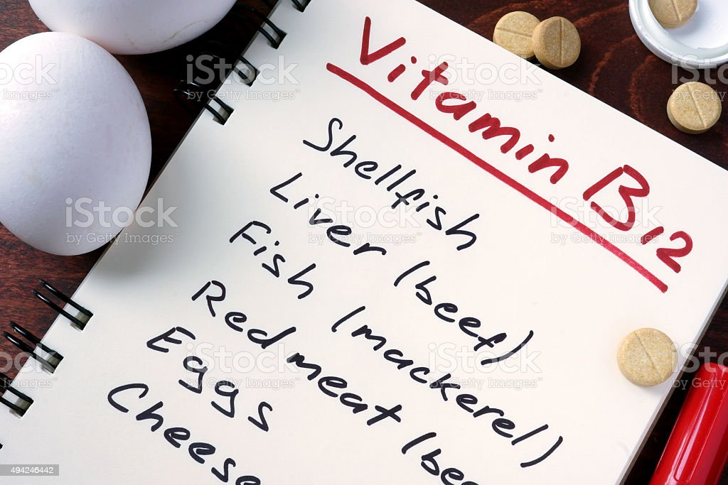 Notepad with vitamin b12. stock photo