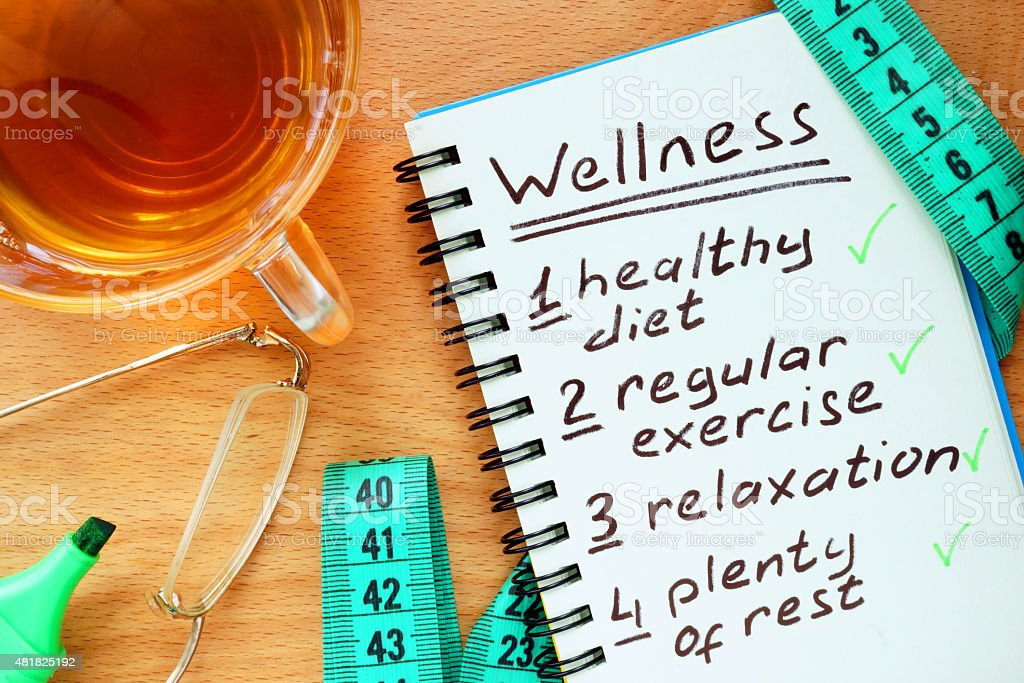 Notepad with  Wellness concept. stock photo