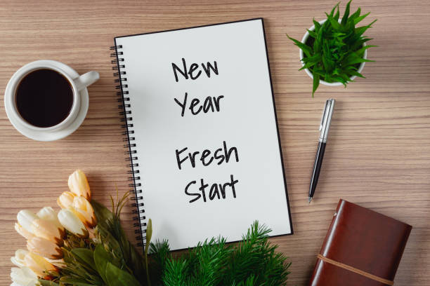 Notepad with wish list and coffee cup. New year's hope and resolution concept. stock photo