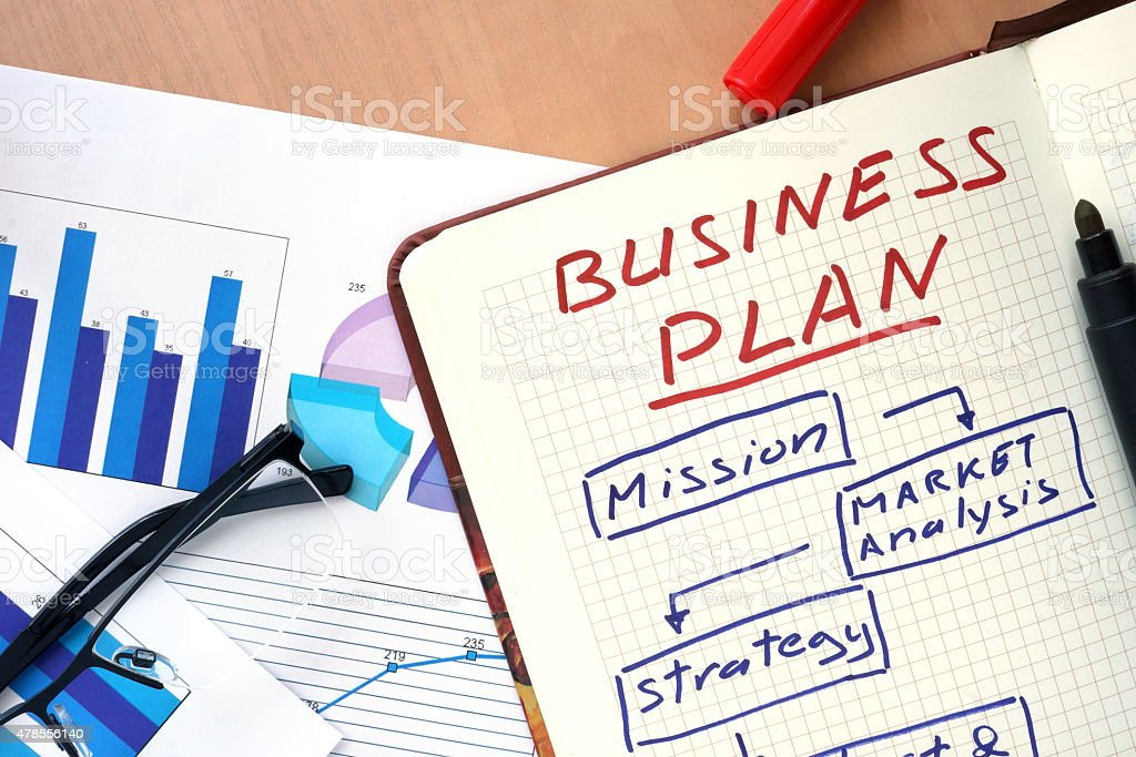 Notepad with words business plan  concept and glasses. stock photo