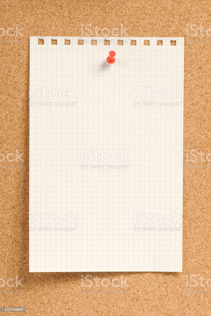 Notepaper on Corkboard royalty-free stock photo