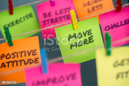 istock notes concept for motivation for move more to stay healthy or lose weight 901324170
