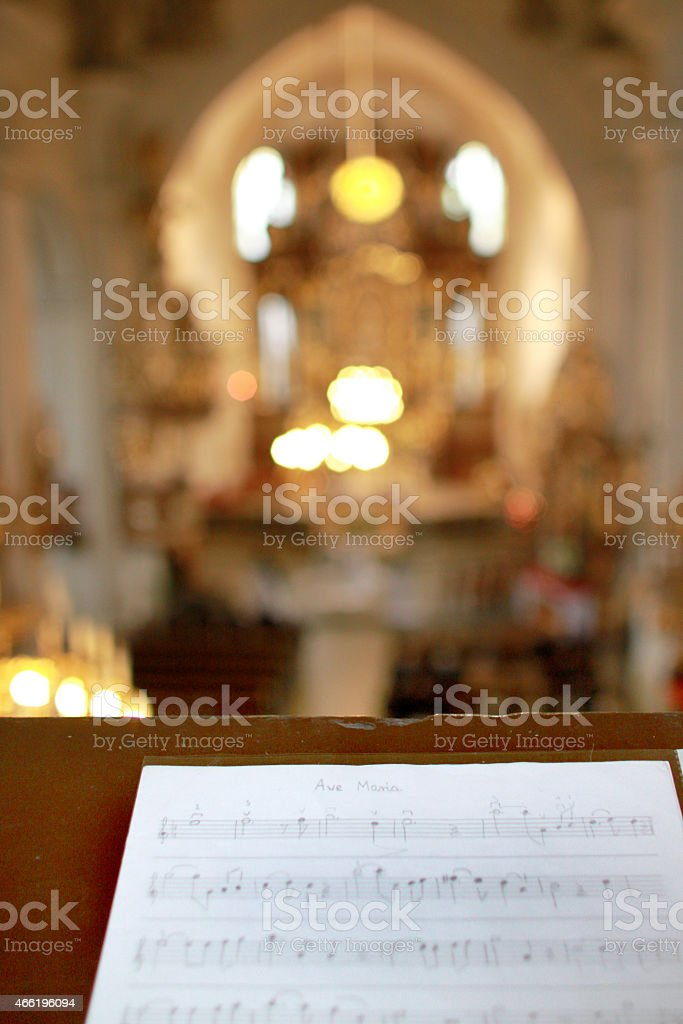 Notes in church stock photo
