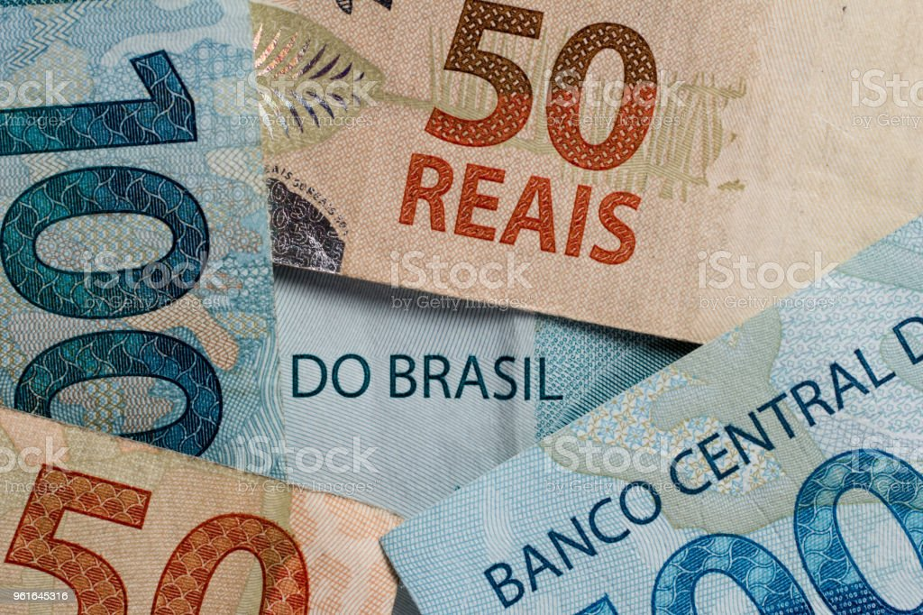Notes of Real, Brazilian currency. Money from Brazil. stock photo