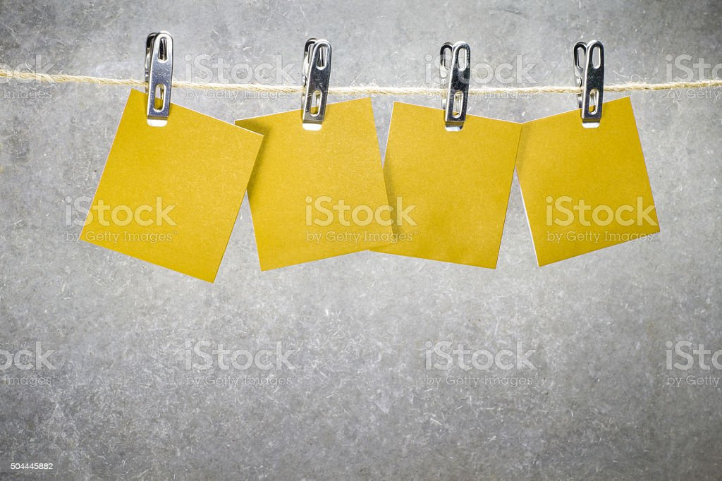 Notes paper cards in clothes pegs stock photo
