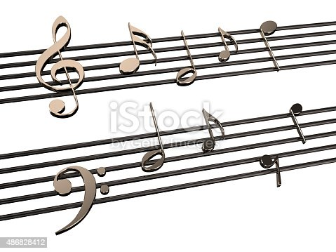 music notes isolated on  white background