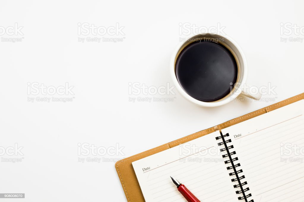 Notes with coffee stock photo