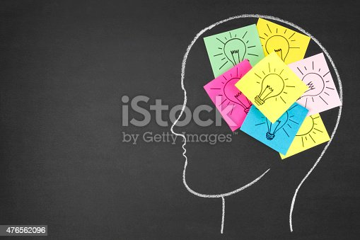 istock Notes with Light Bulbs Inside Human Head on Chalkboard 476562096