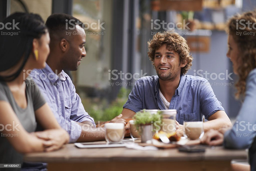 Nothing beats the company of good friends! stock photo
