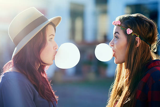 Nothing better than best friend being silly together stock photo