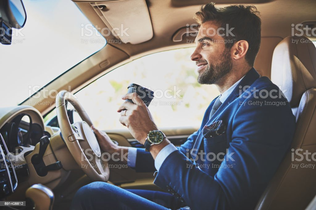 Nothing can spoil his mood stock photo