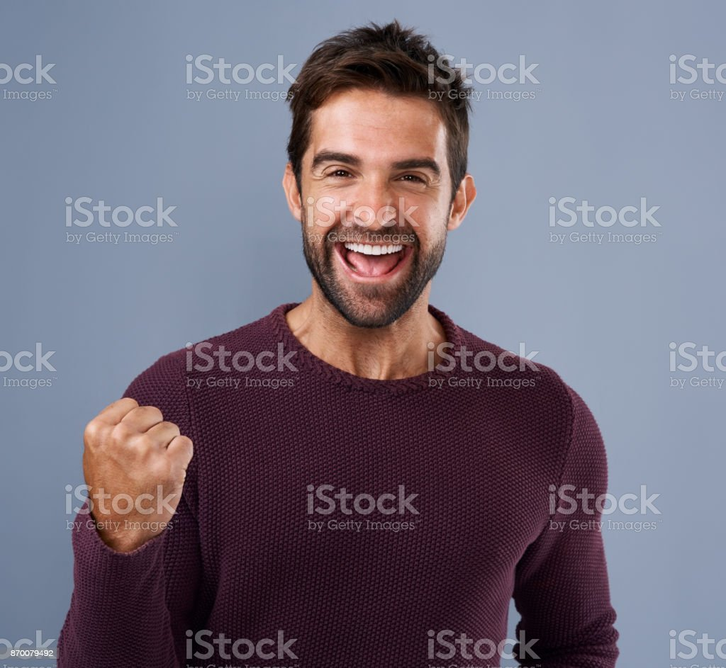 Nothing feels as good as winning! stock photo