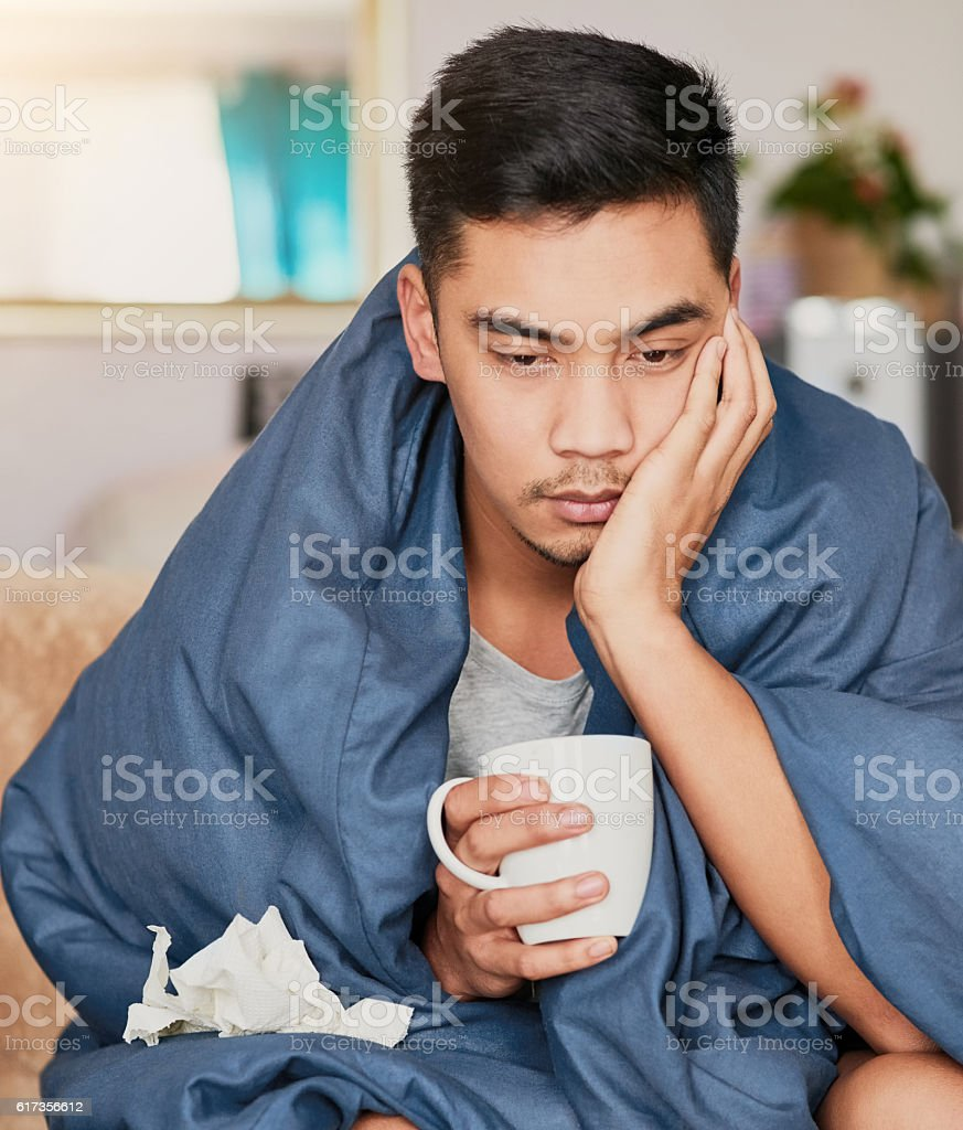 Nothing fun about the flu stock photo