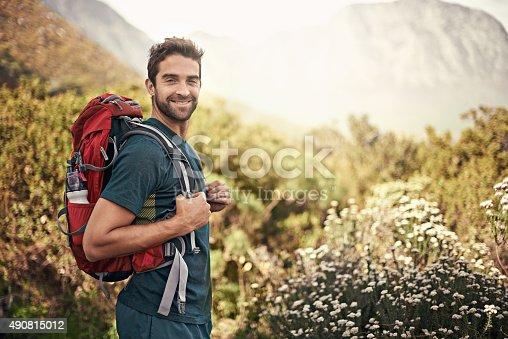 Shot of a young man enjoying a hike through the mountainshttp://195.154.178.81/DATA/i_collage/pi/shoots/784135.jpg
