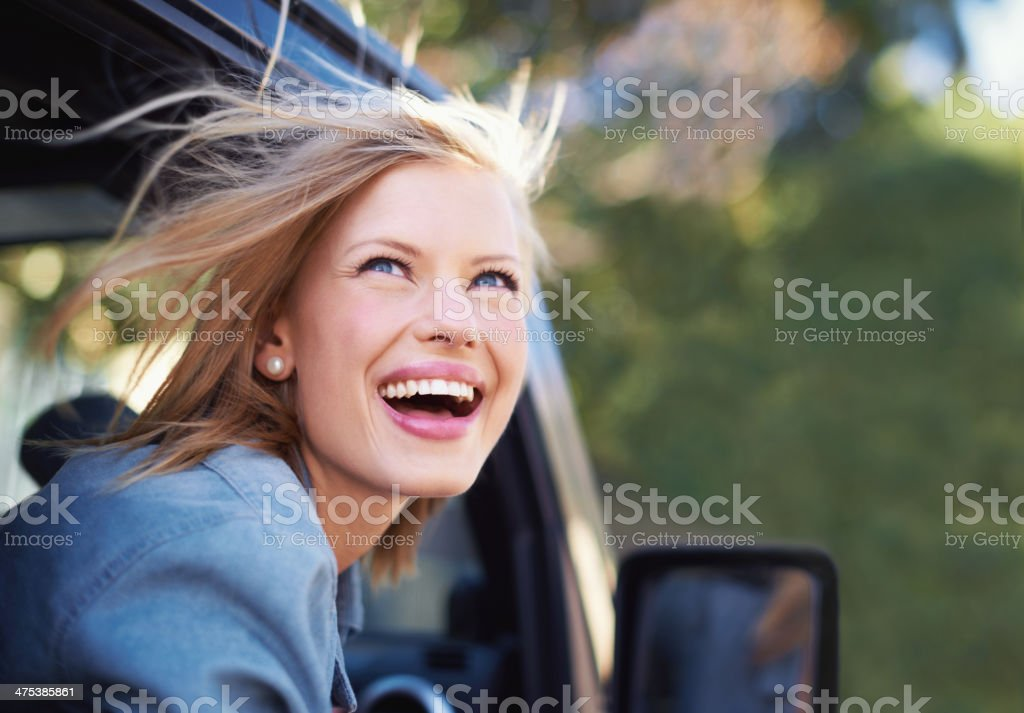 Nothing like the feeling of wind in your hair stock photo