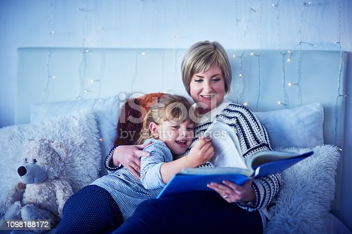 Shot of an adorable little girl being read a story by her mother at bedtime