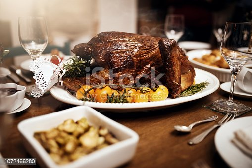 Shot of a feast on a table at Christmas