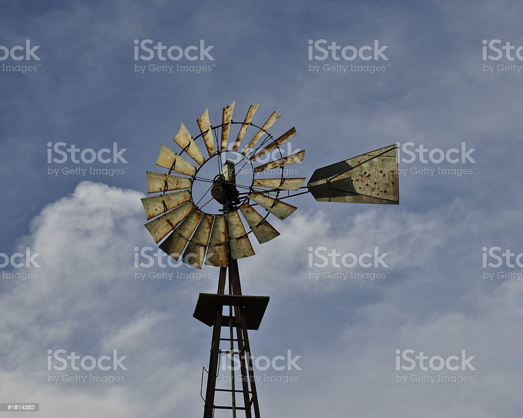 Old Windmill and Cloud Formation royalty-free stock photo