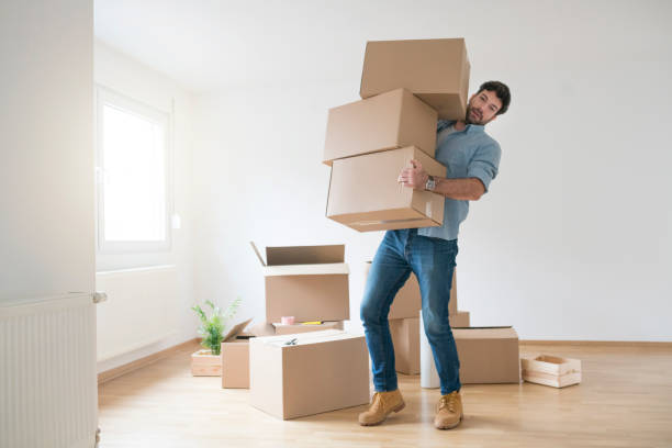 Nothing's Too Tough For This Guy Funny young man clumsy carrying a stack of cardboard boxes while moving into a new apartment. carrying stock pictures, royalty-free photos & images