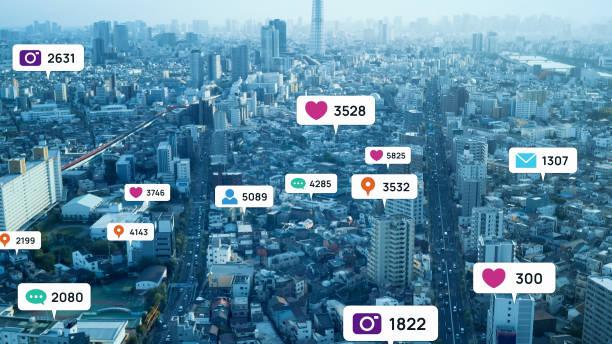 現代の都市の上にソーシャルネットワーキングサービスポップアップの風船に注意してください。ソーシャルメディア。 - 広告 ストックフォトと画像