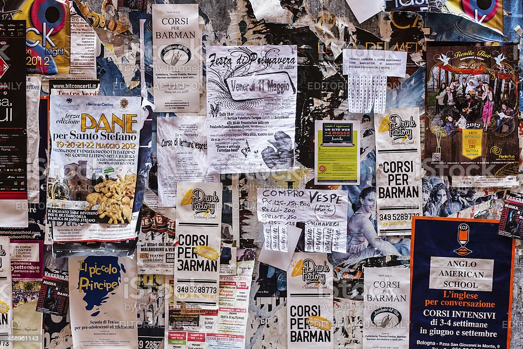 Notice Board in Bologna, Italy stock photo