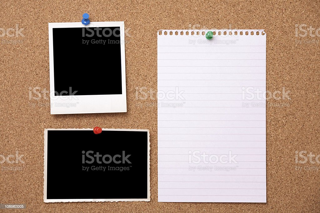 Notice Board with Blank Photgraphs and Page royalty-free stock photo