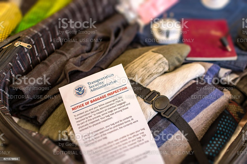 Notice of Baggage Inspection Card - USA Homeland Security stock photo