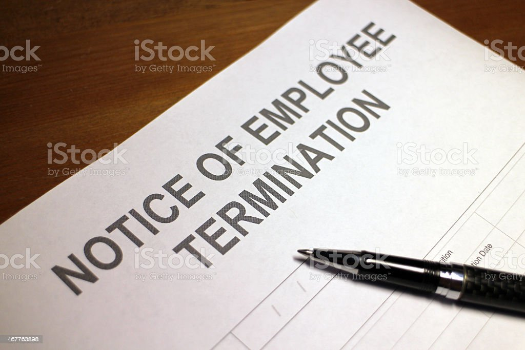 Notice of Employee Termination stock photo