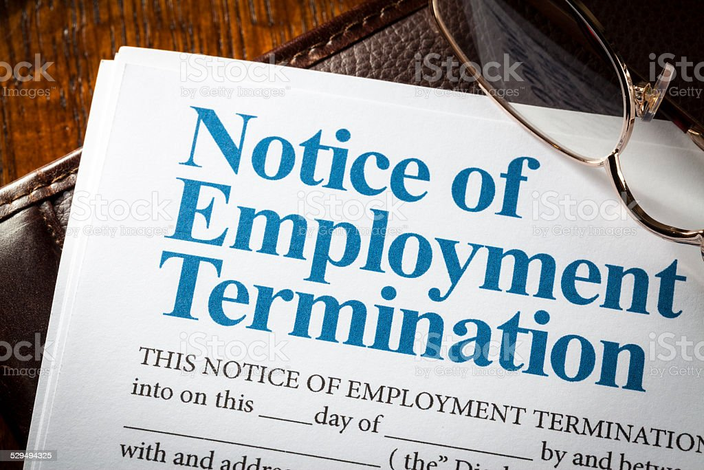 Notice of employment termination stock photo