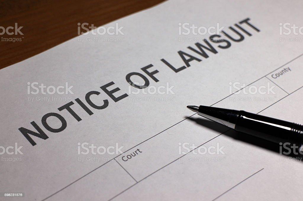 Aviso de Ação judicial foto royalty-free
