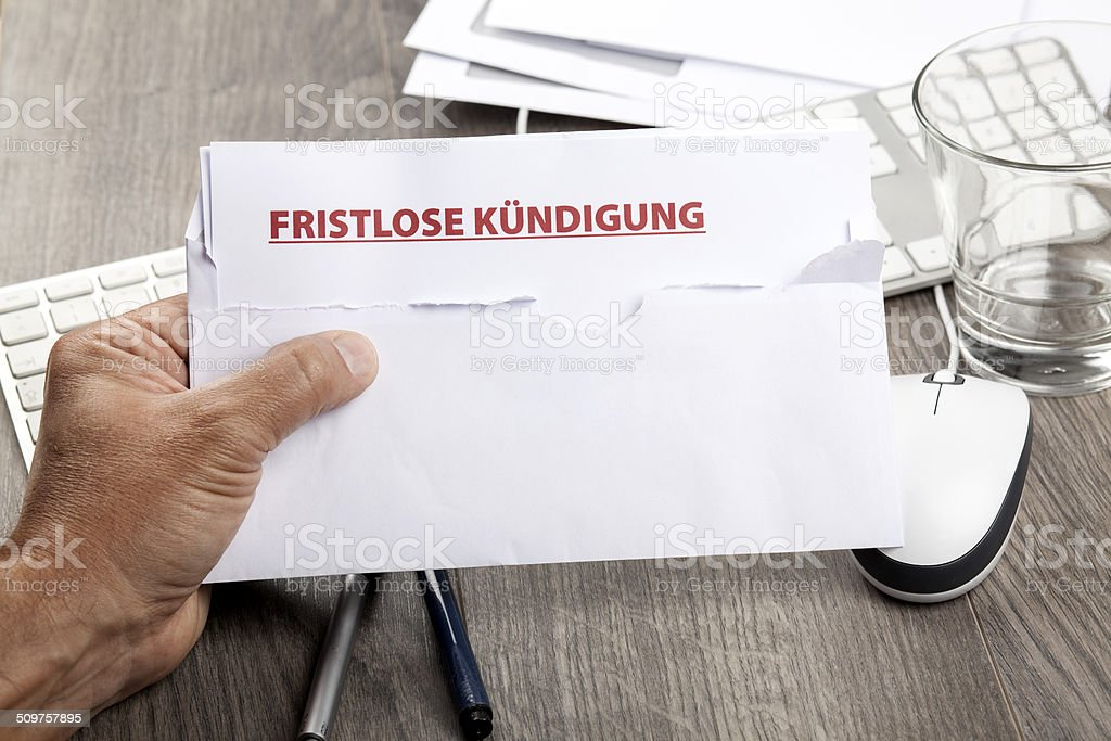 Notice of termination, fristlose Kuendigung stock photo